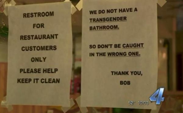 Oklahoma restaurant's 'we don't have a transgender bathroom' sign creates media storm