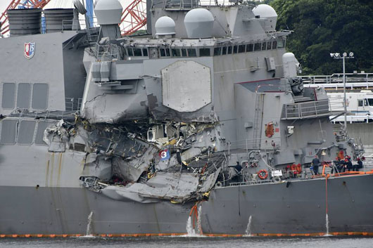 Sleeping sailors on U.S. destroyer had little time to react after collision near Japan