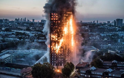 Green-energy cladding tied to 'towering inferno' widely used on London buildings
