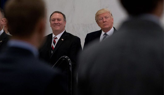Trump ties Pompeo's rise to stance on Iran nuclear deal