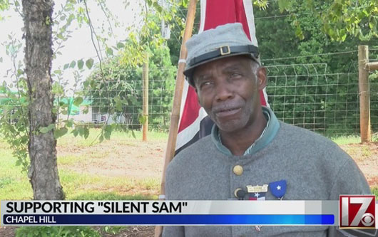 Black defender of Confederate soldiers takes stand on downed statue