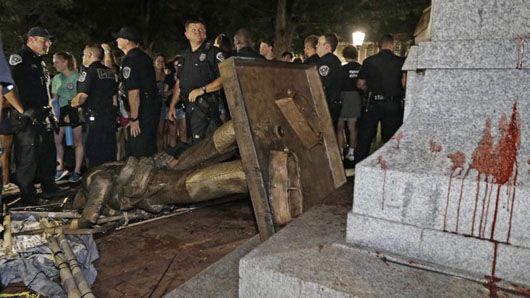 UNC mum on whether police allowed toppling of Silent Sam statue