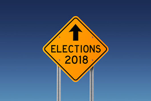 Yellow 2018 Elections Ahead Traffic Sign on Blue Sky