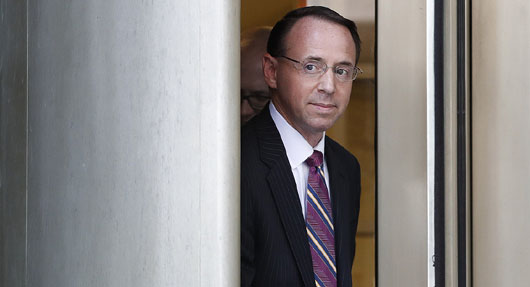 Report: On his way out at DOJ after stiffing Congress, Rosenstein briefs the MSM