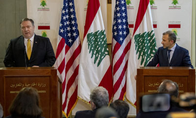 Pompeo in Beirut publicly urges all Lebanese to stand against Iran, Hizbullah