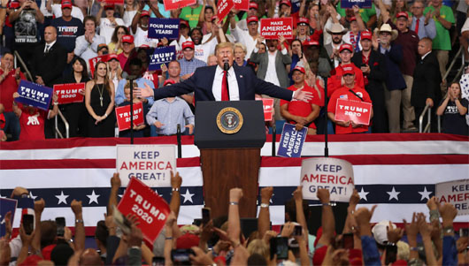 Trump triumphant at massive campaign launch; Prayer declares victory over 'every strategy from hell'