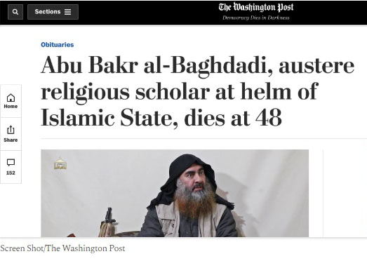 Washington Post headline on al-Baghdadi's death a global sensation
