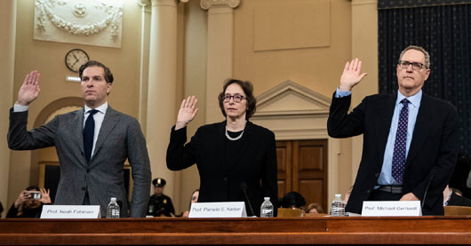 Republicans lampoon elitist profs at hearing; Pelosi on impeachment then and now