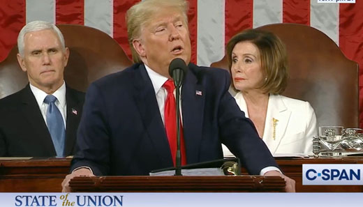 Both President Trump, VP Pence were distracted by Pelosi's grumbling during speech