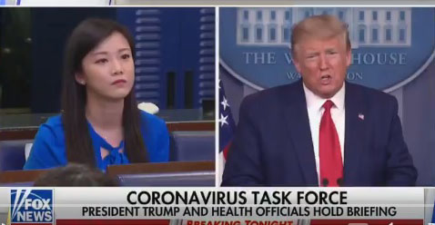 Asked by President if she works for China, reporter for China says 'No'