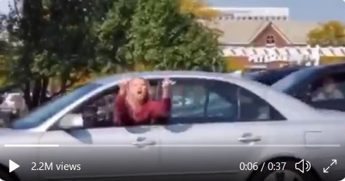 Instant karma: Biden supporter flips off Trump crowd, then slams car in front of her