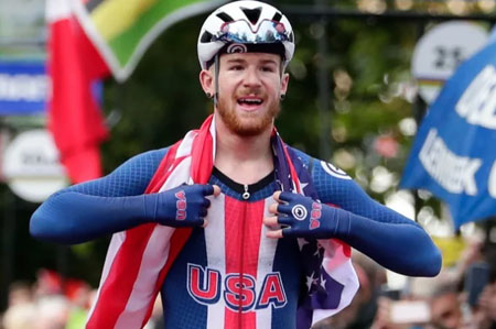 Pro cyclist suspended from team after indicating support for Trump