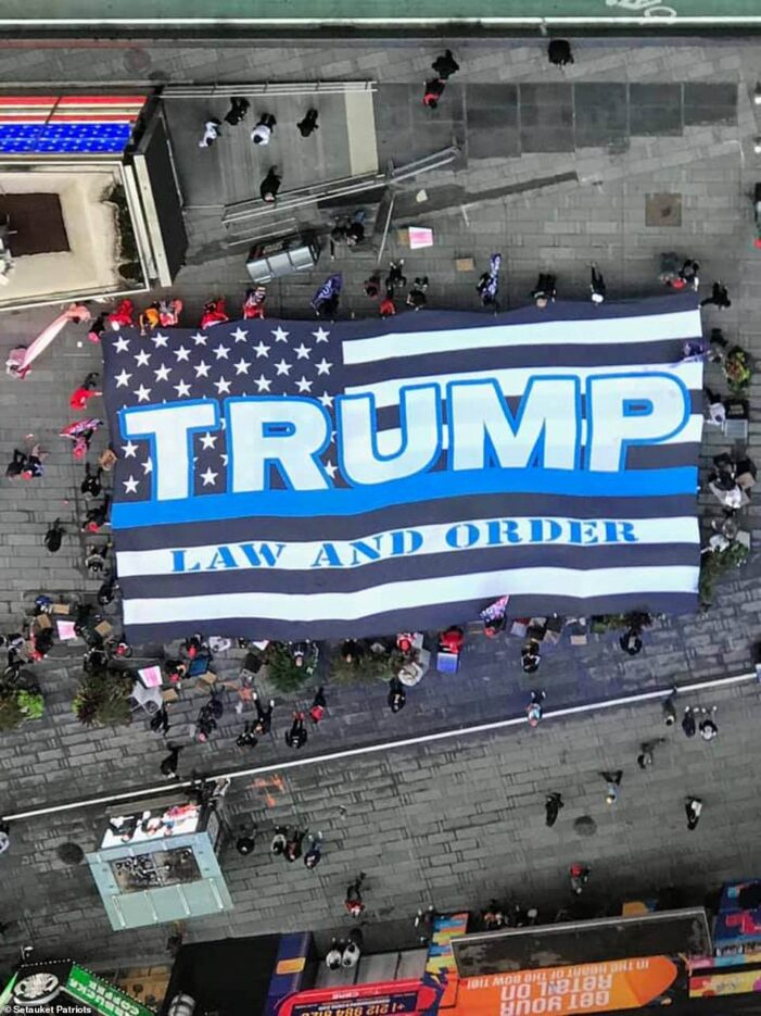 Largest Trump flag ever is unveiled in New York City