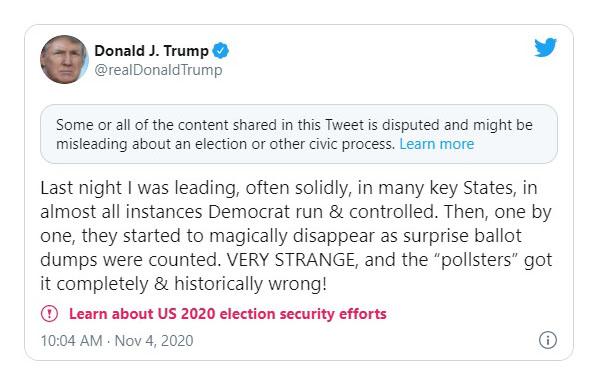 On election night, Twitter censors Trump, but not Biden