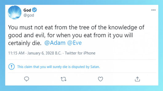 Twitter hits God with warning, unwittingly outs 'fact-checker'