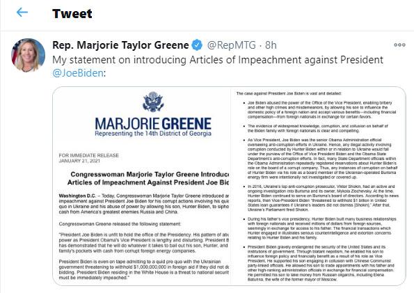 Georgia Rep. Marjorie Taylor Greene files articles of impeachment against Biden