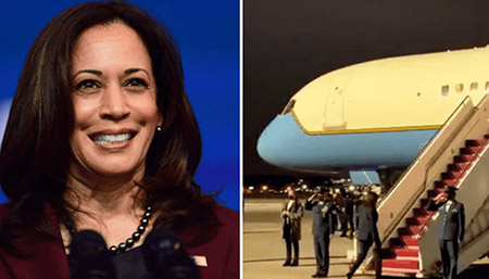 Snubbing those who serve? Harris not saluting troops when boarding Air Force 2