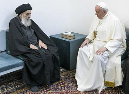 Pope holds historic meeting with Khamenei's Shi'ite rival, Ayatollah Sistani