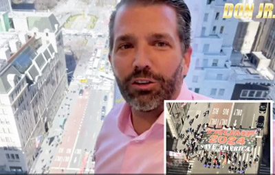 Surprise video shows huge Trump 2024 banner unfurled outside Trump Tower in NYC