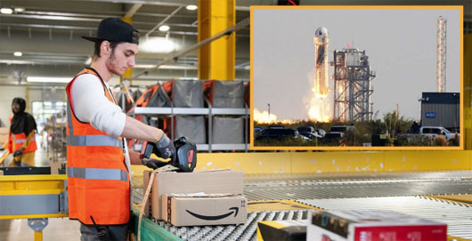 Rocket man Bezos blasts off; Workforce grateful for 10-minute break
