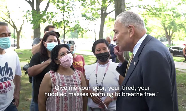 'Yearning to breathe free'? Chuck Schumer's message to loyal masked Americans