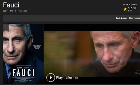 Fauci flop: Documentary praising Covid czar gets 1.6 stars out of 10 on IMDB